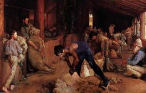 Dianne Jones, Shearing the rams, 2001