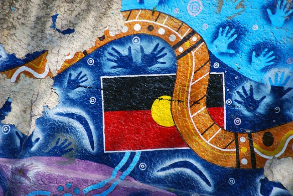 Len Matthews - the street art of the Australian indigenous flag and culture was photographed in Brunswick Street, Fortitude Valley.